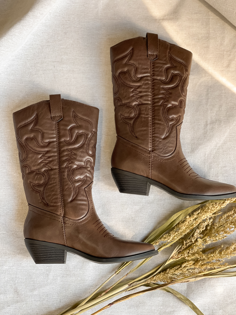 Down South Cowgirl Boot in Brown - Stitch And Feather