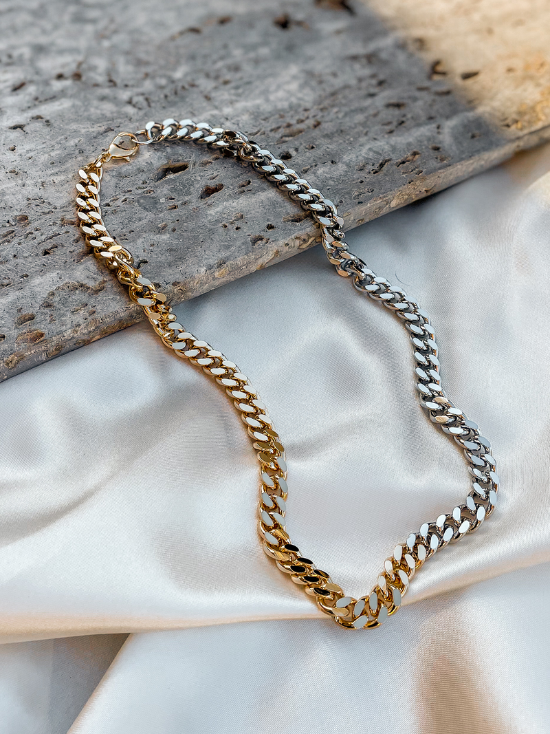 Two Tone Chain Necklace - Stitch And Feather