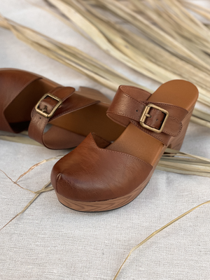 Buckle Up Closed Toe Mules - Stitch And Feather