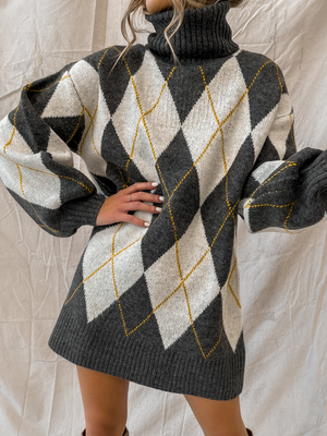 Diamond Eyes Sweater Dress - Stitch And Feather