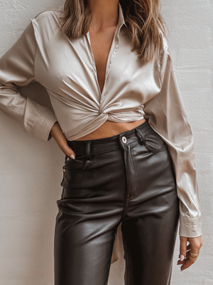 Champagne Satin Wrap Top - Stitch And Feather