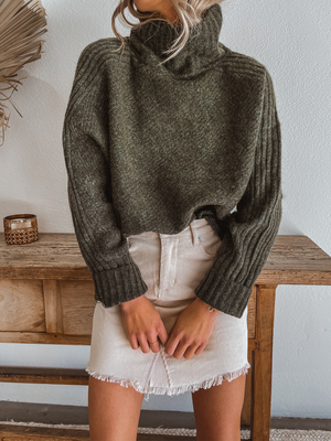 Mockneck Knit Sweater in Olive - Stitch And Feather