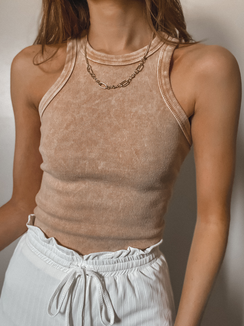 Mineral High Neck Tank - Stitch And Feather