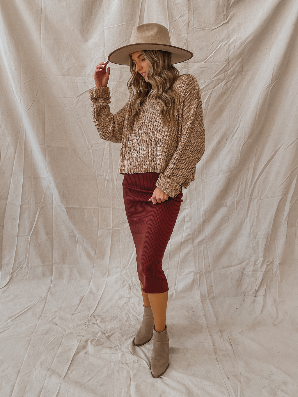 Chenille Knit Sweater in Taupe - Stitch And Feather