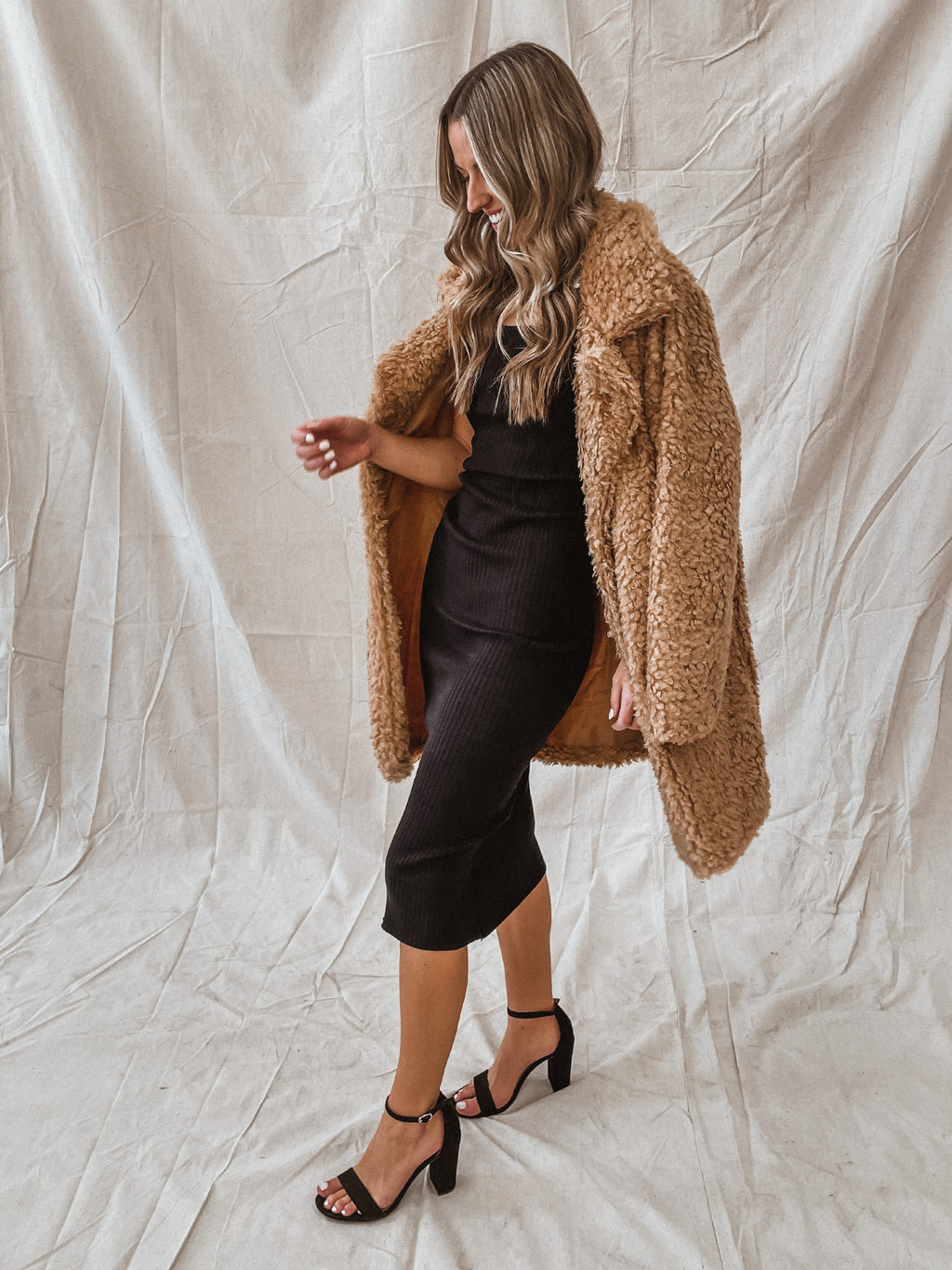 Shagged Midi Furr Coat in Camel - Stitch And Feather