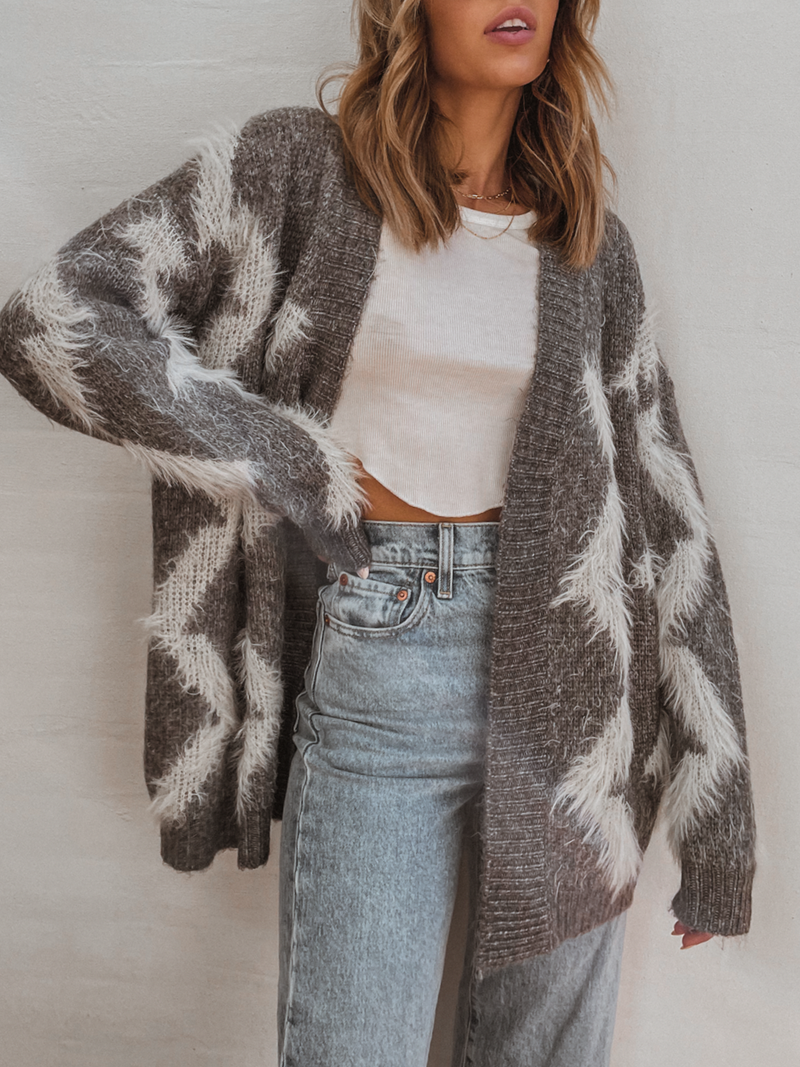 Rylee Fuzzy Cardigan in Grey - Stitch And Feather
