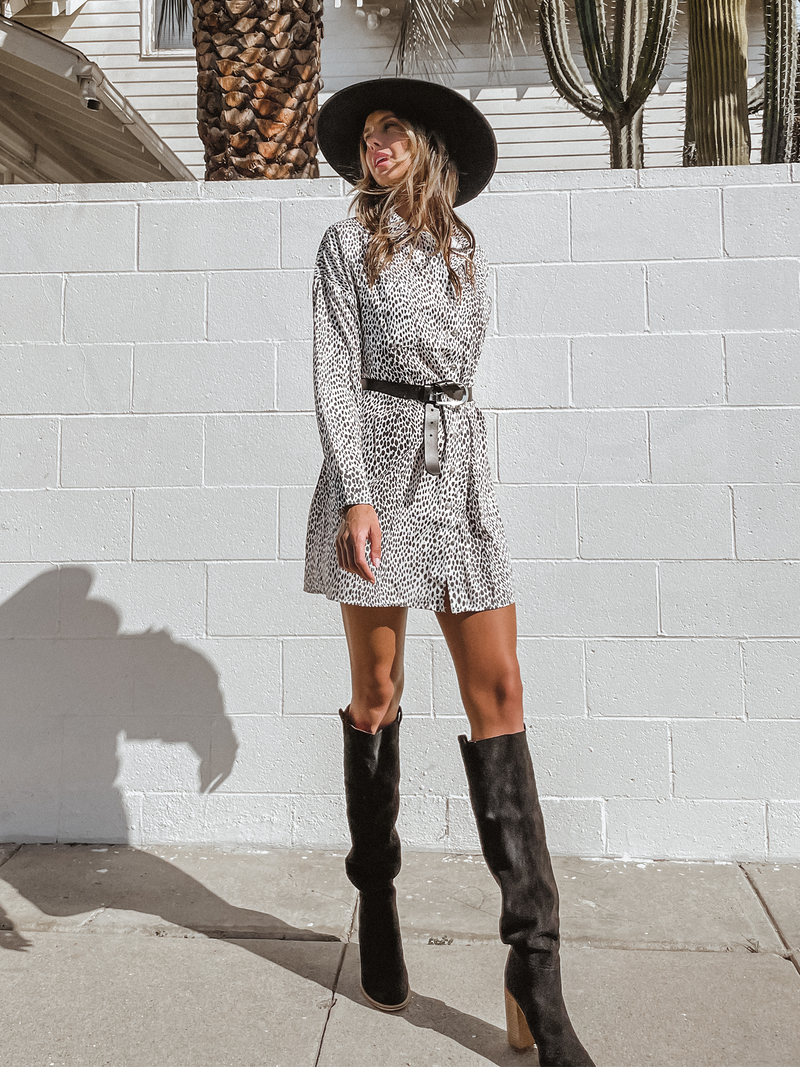 Leopard Button Down Shirt Dress - Stitch And Feather