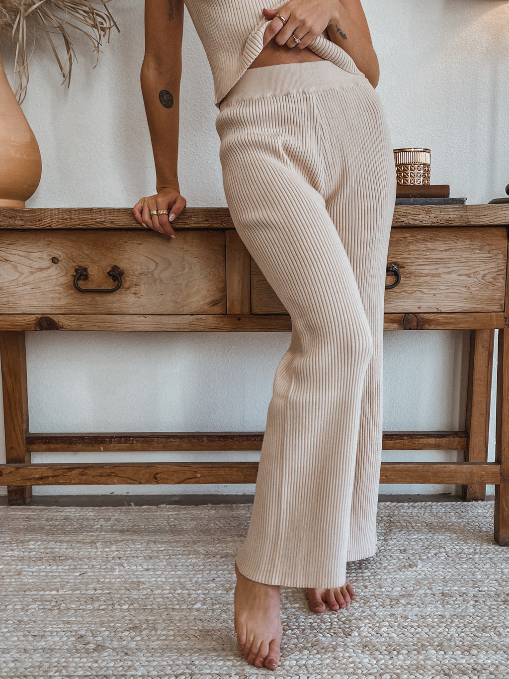 Ribbed Flare Bottoms in Taupe - Stitch And Feather