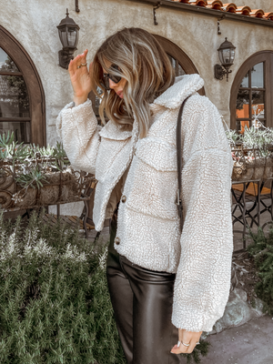 Teddy Pocket Jacket in Beige - Stitch And Feather