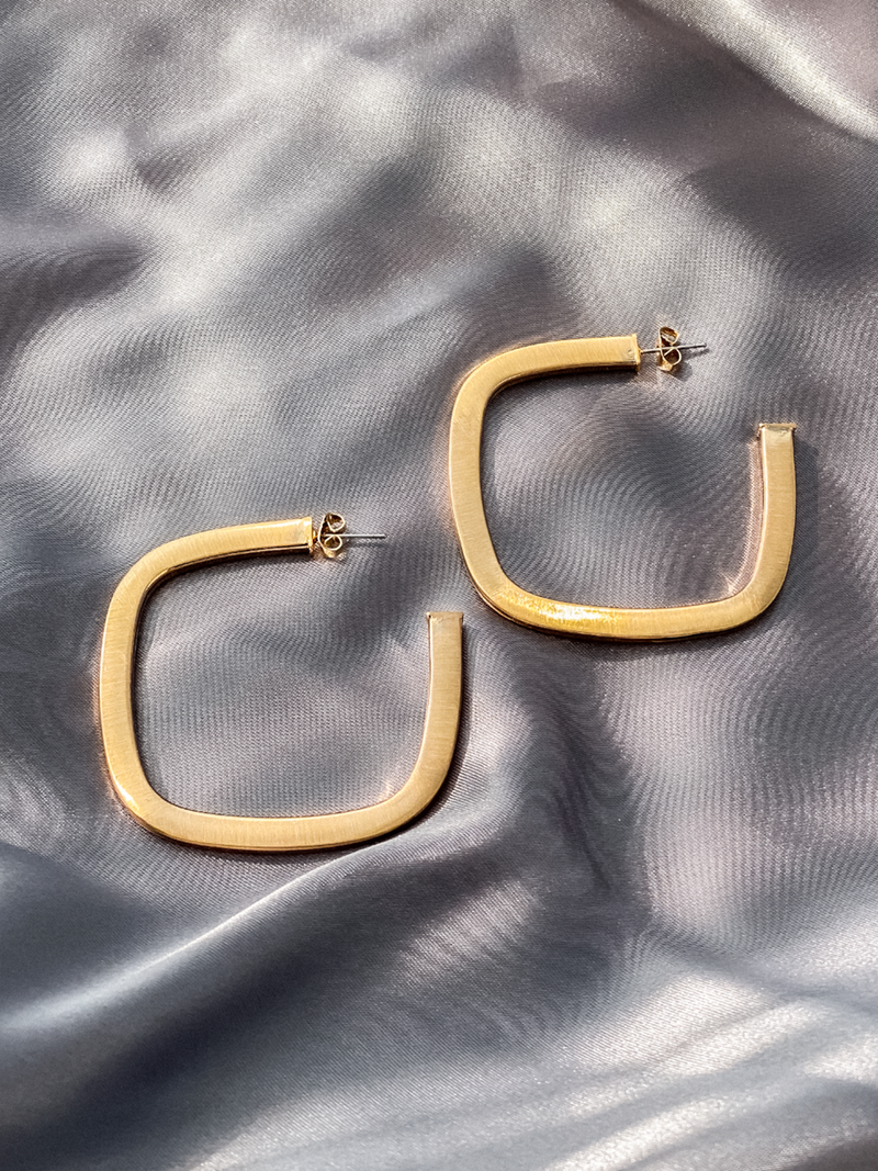 Gold Rectangle Hoops - Stitch And Feather