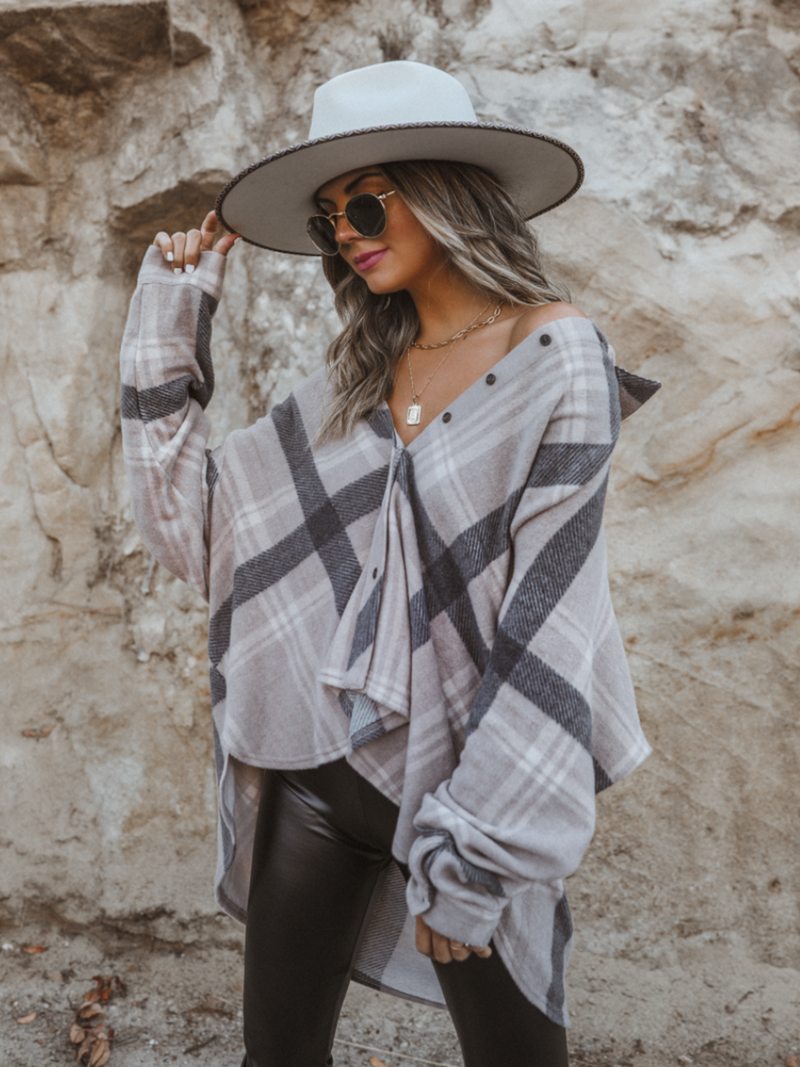 Soft Oversized Plaid Button Down - Stitch And Feather