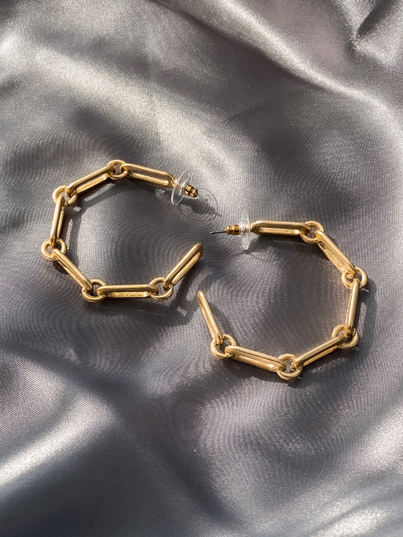 Gold Link Hoops - Stitch And Feather