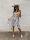 Tie Dye Mini Dress in Grey - Stitch And Feather