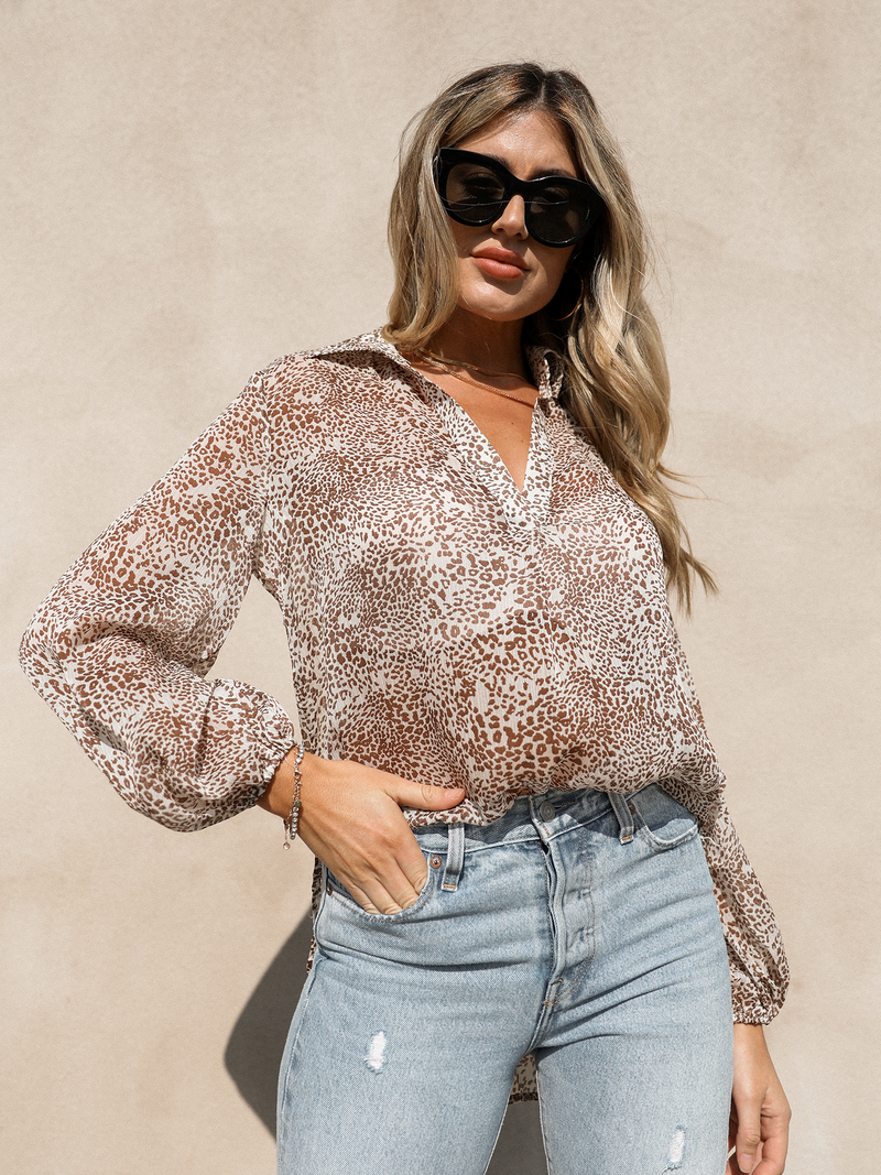 Spotted On the Go Blouse - Stitch And Feather