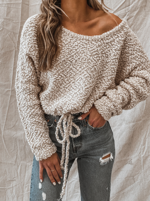 Drawstring Crew Sweater in Beige - Stitch And Feather