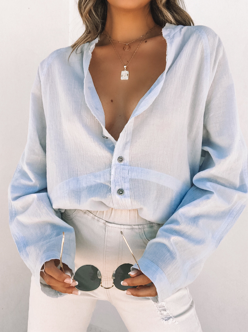 Gauze Button Down in Ice Blue - Stitch And Feather