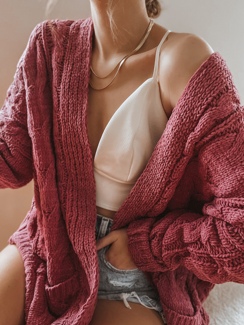 Chunky Knit Cardigan in Berry - Stitch And Feather