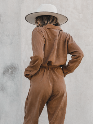 Abbot Kinney Jumpsuit in Camel - Stitch And Feather