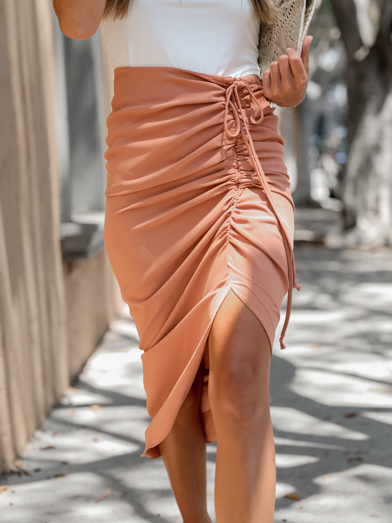 Kaia Midi Skirt in Salmon - Stitch And Feather