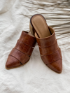 Stephanie Cut Out Mule in Cognac - Stitch And Feather