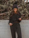 Drawstring Crew Sweater in Black - Stitch And Feather