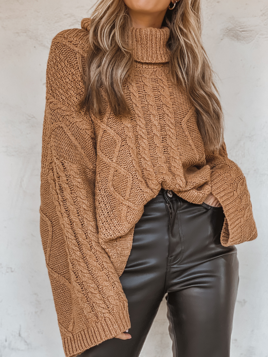 Decor Knit Turtle Neck Sweater in Camel - Stitch And Feather
