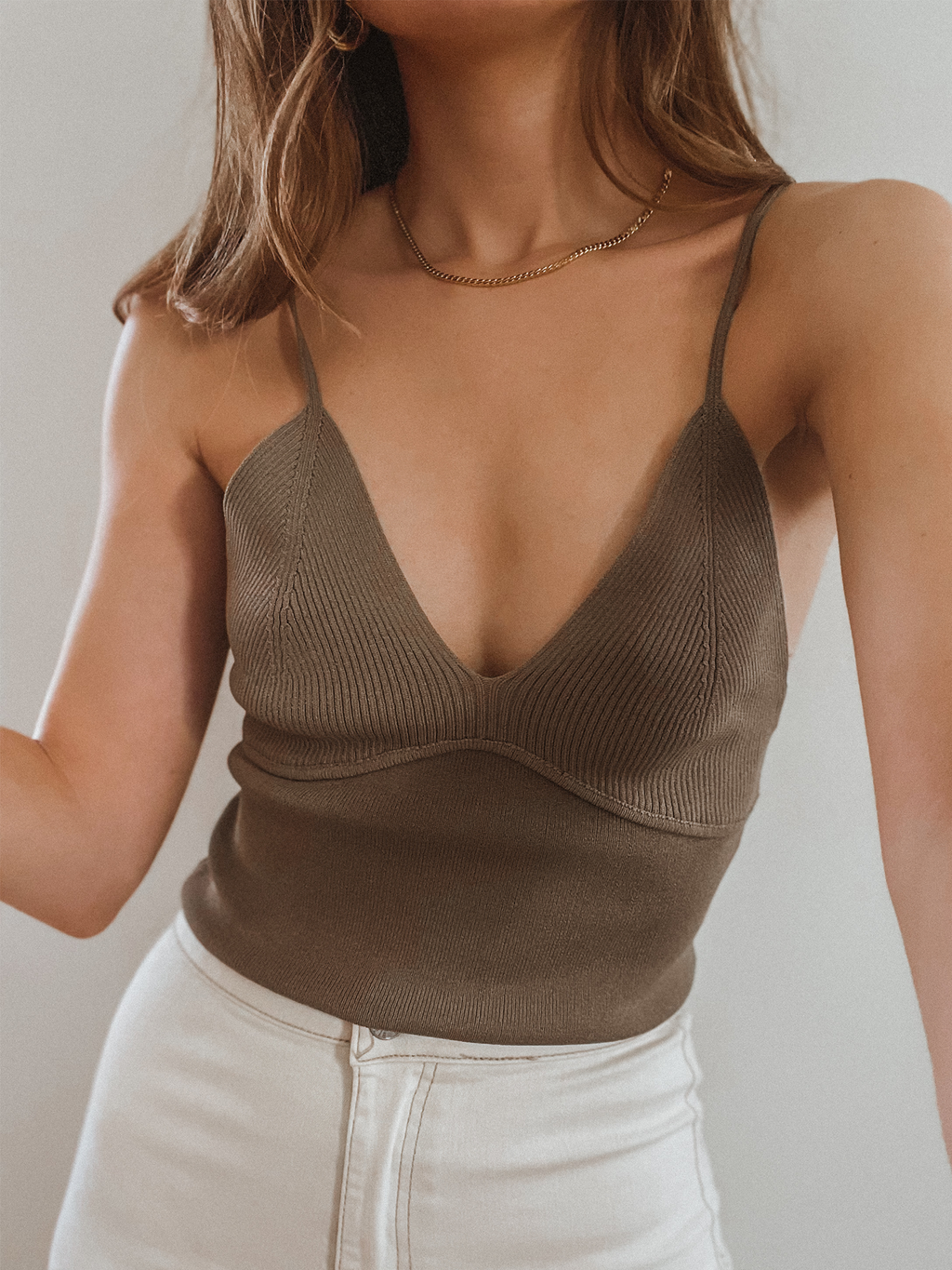 Free Falling Knit Tank in Olive