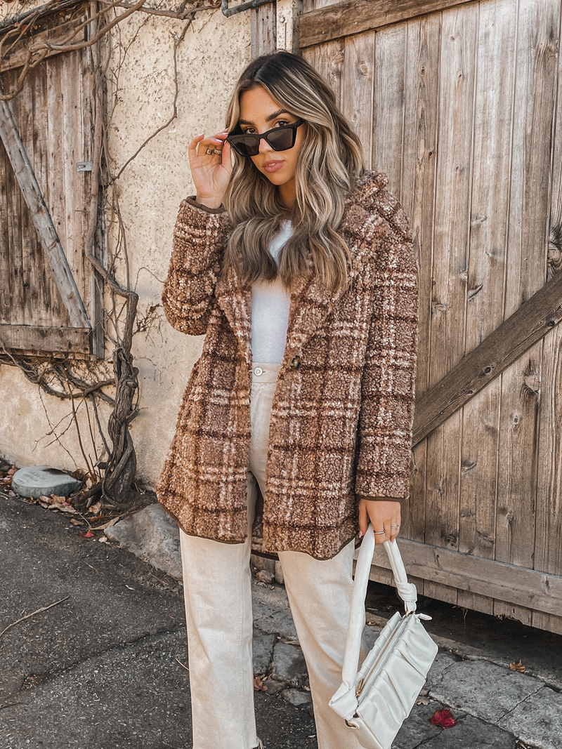 Teddy Fur Plaid Coat - Stitch And Feather