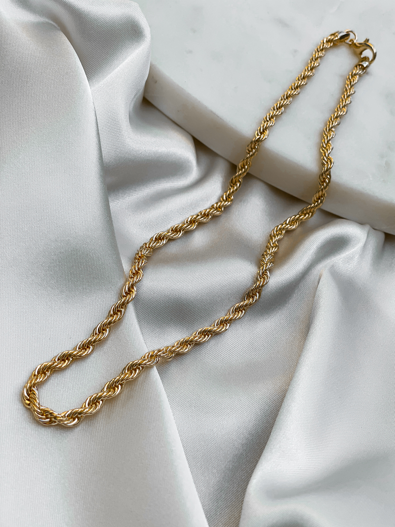 Twist Chain Necklace Gold - Stitch And Feather