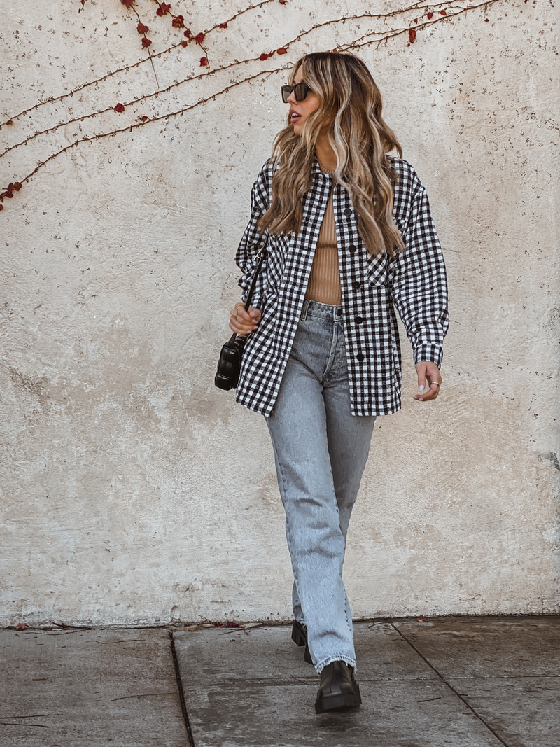 Checkered Button Down Shacket - Stitch And Feather