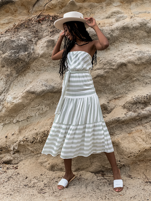 Logan Stripe Midi Dress - Stitch And Feather