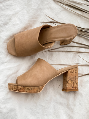 Carine Slide Wedge in Taupe - Stitch And Feather