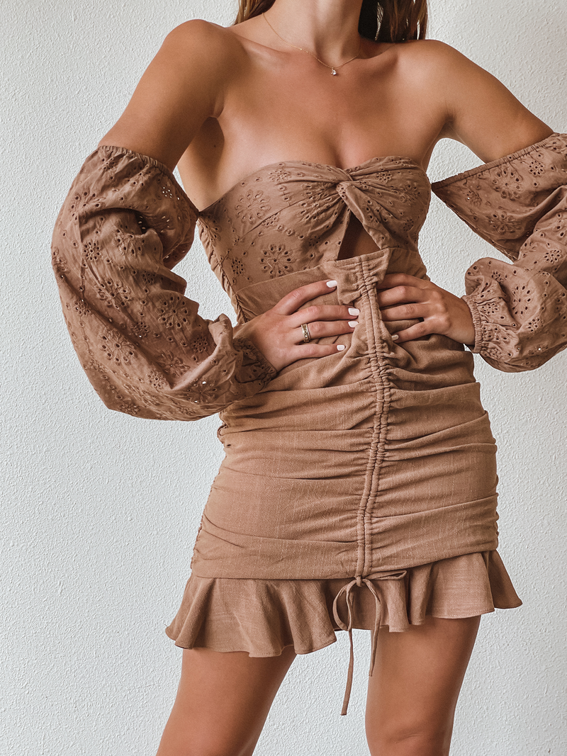Mocha Ruched Mini Dress - Stitch And Feather
