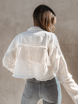 {PRE-ORDER} Out West Fringe Jacket in White - Stitch And Feather