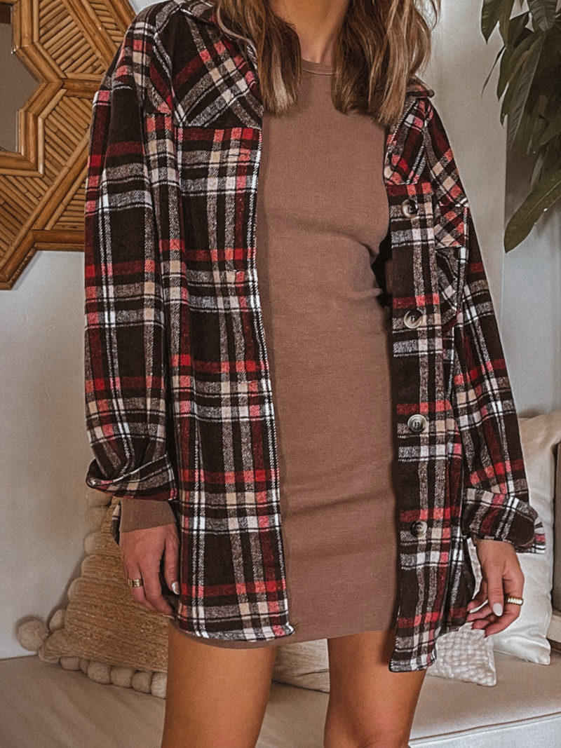 Rain Check Plaid Shacket - Stitch And Feather