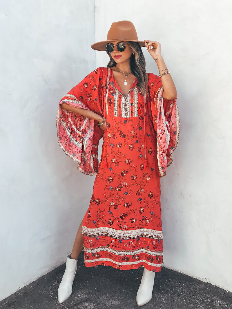 Crimson Boheme Maxi Dress - Stitch And Feather