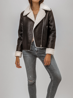 Motto Sherling Leather Jacket - Stitch And Feather