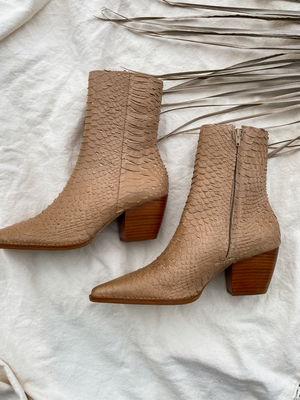 Caty Boot in Tan Snake - Stitch And Feather