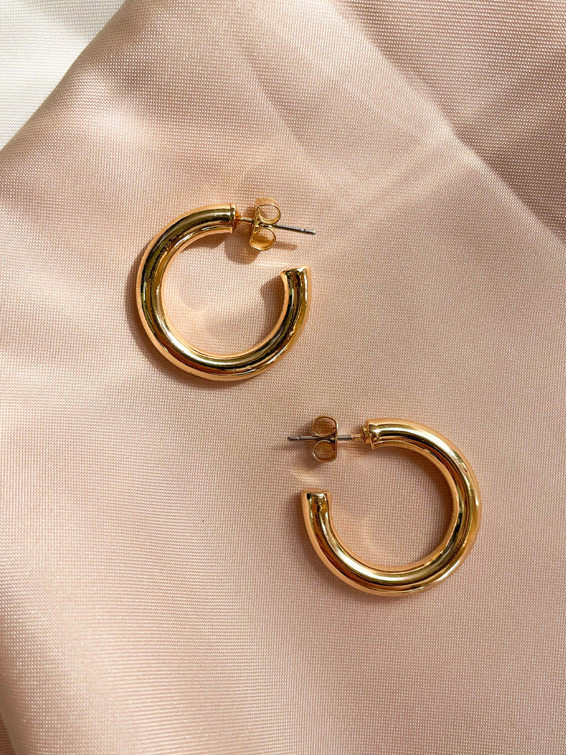 Gold Hoop Earrings - Stitch And Feather