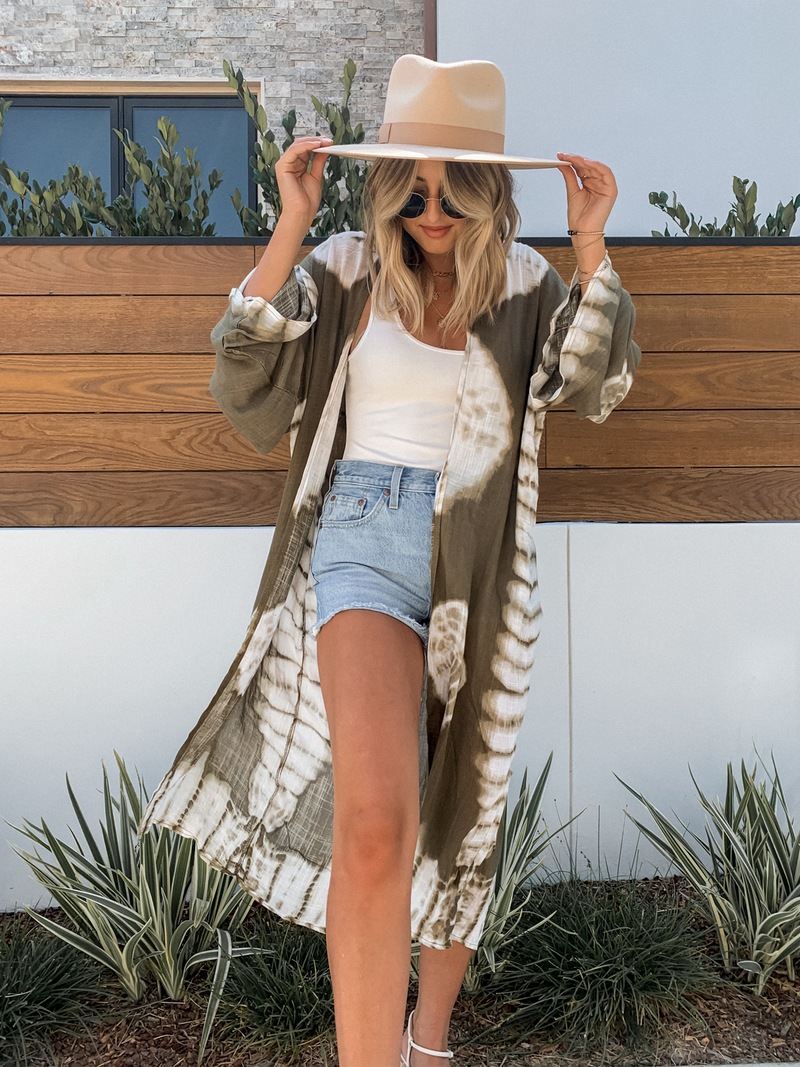 Tie Dye Kimono in Olive - Stitch And Feather