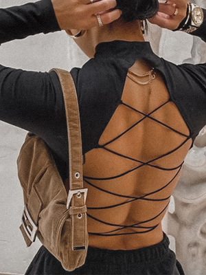 Lace Up Back Crop Top - Stitch And Feather