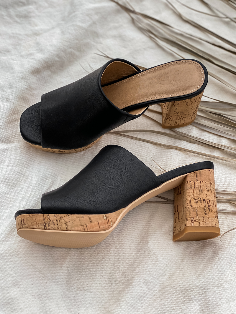 Carine Slide Wedge in Black - Stitch And Feather
