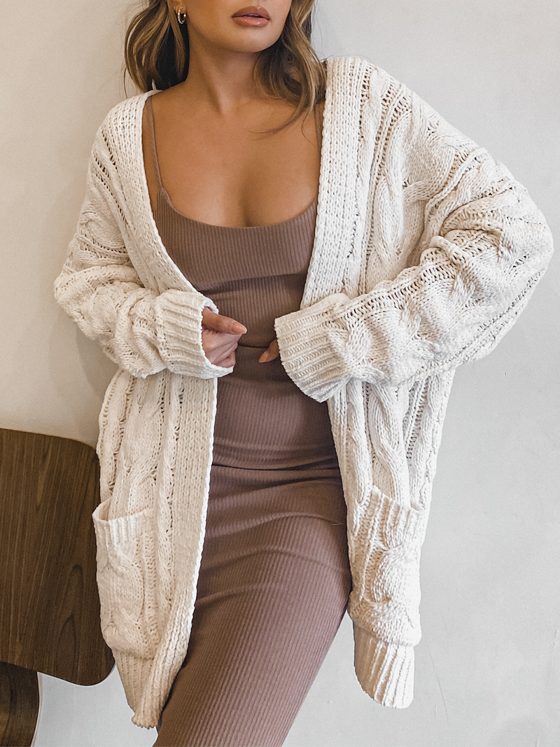 Chunky Knit Cardigan in Ivory