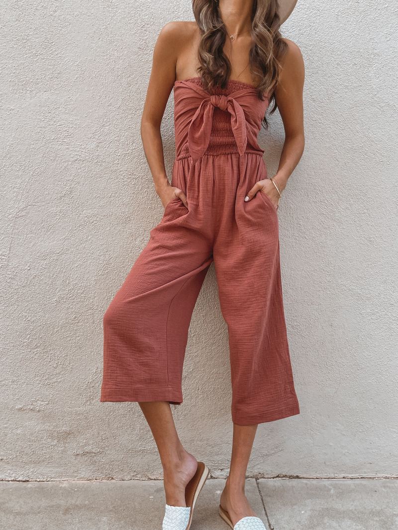 Sarah Front Tie Jumpsuit in Clay - Stitch And Feather