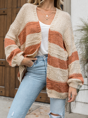 South Haven Stripe Knit Cardigan - Stitch And Feather