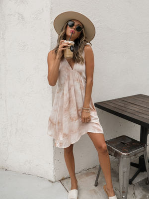 Tie Dye Mini Dress in Taupe - Stitch And Feather