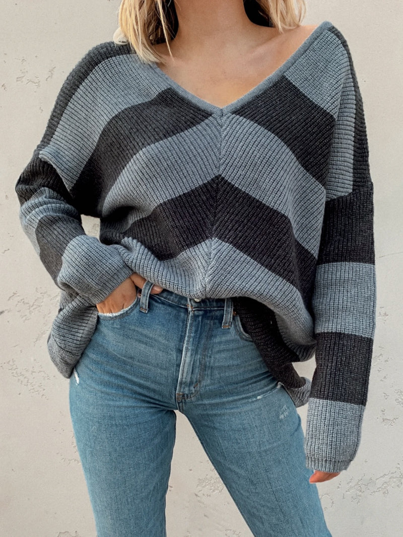 Midnight Oversized Stripe Sweater - Stitch And Feather