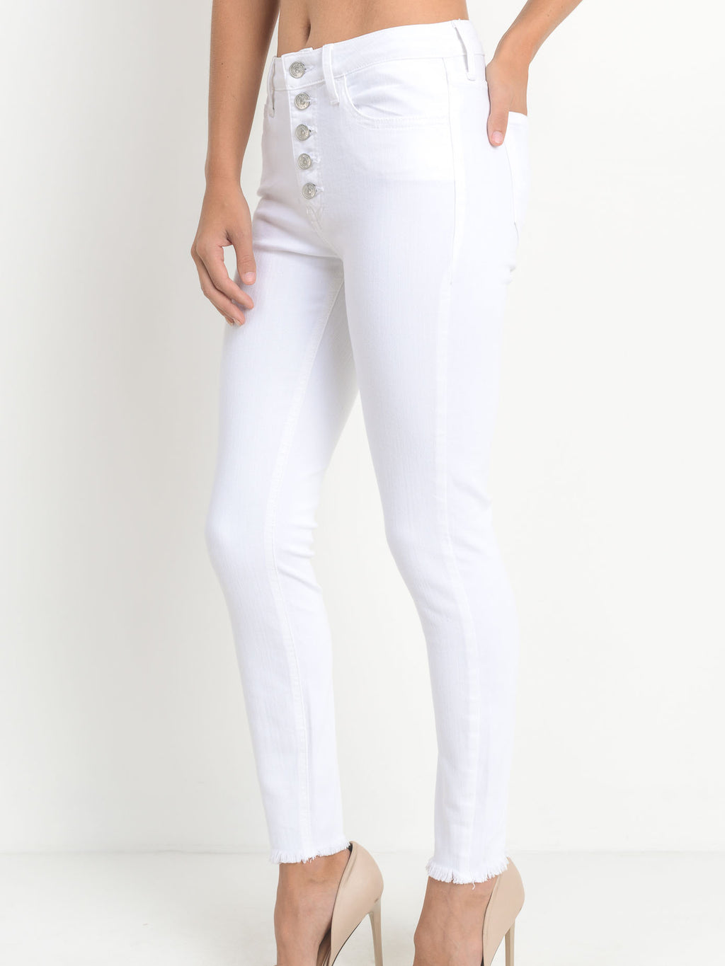 Button Down Skinny Jeans - Stitch And Feather