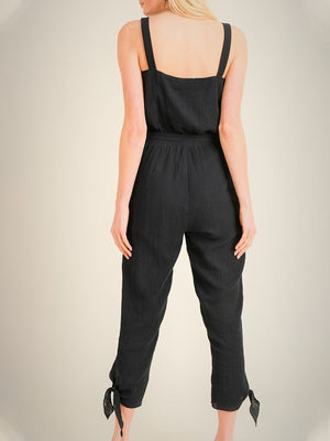 Buttoned Up Gauze Jumpsuit - Stitch And Feather
