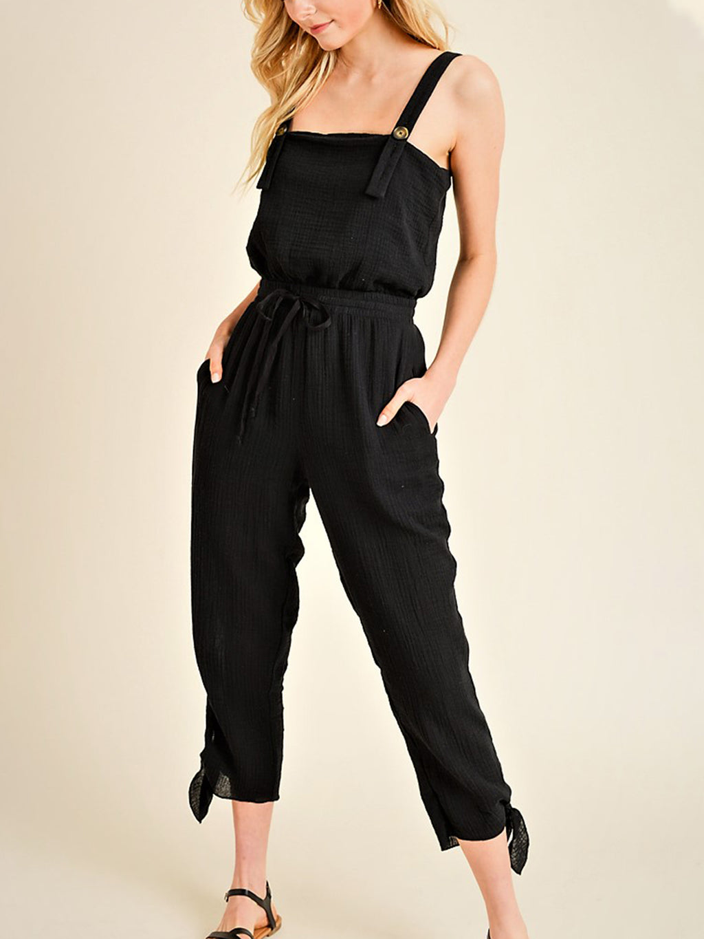 4a6a50e11a Buttoned Up Gauze Jumpsuit - Stitch And Feather